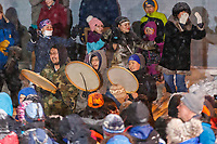 The King Island dancers perform as they wait for Pete Kaiser at the Nome finish line to wi  the 2019 Iditarod Trail Sled Dog Race. Pete's winning time is 9 days 12 hours 39 minutes and 6 seconds<br /> <br /> Photo by Jeff Schultz/  (C) 2019  ALL RIGHTS RESERVED