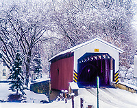 Covered Bridge in winter, Near Lancaster, Pennsylvania, Pennsylvania Dutch Amish Country, Sunset, December H IC