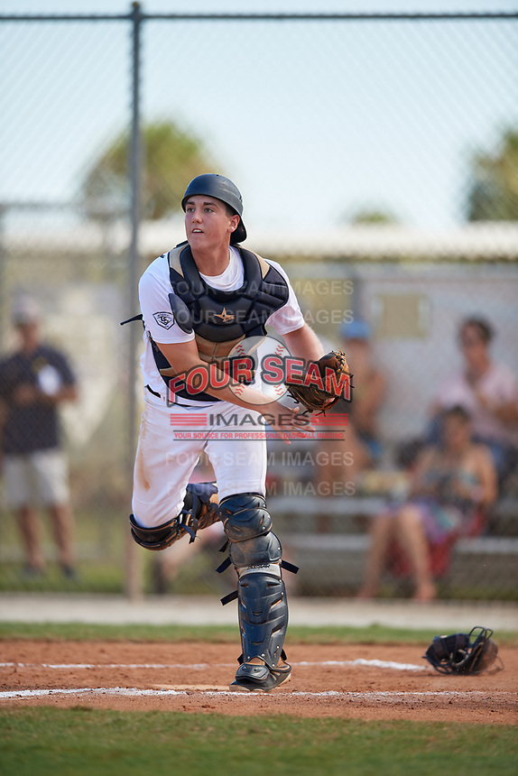 Ian Daugherty during the WWBA World Championship at the Roger Dean Complex on October 20, 2018 in Jupiter, Florida.  Ian Daugherty is a catcher from Kingfisher, Oklahoma who attends Kingfisher High School and is committed to Oklahoma State.  (Mike Janes/Four Seam Images)