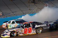 Nov. 14, 2009, Phoenix, AZ: Denny Hamlin is spun by Brad Keselowski (not pictured) coming down the front-stretch late in the race.