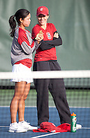 STANFORD, CA - April 14, 2011: Hilary Barte and Nicole Gibbs of Stanford women's tennis during Stanford's dual against St. Mary's. Stanford won 6-1.