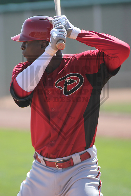 SCOTTSDALE - March 2013: Didi Gregorius (1)  of the Arizona DiamondBacks during a Spring Training game against the Oakland A's on March 19, 2013 at Salt River Fields in Scottsdale, Arizona.  (Photo by Brad Krause). .