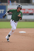 Clinton LumberKings Luis Liberato (2) runs to third base during the Midwest League game against the Beloit Snappers at Ashford University Field on June 12, 2016 in Clinton, Iowa.  The LumberKings won 1-0.  (Dennis Hubbard/Four Seam Images)