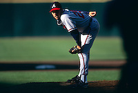 SAN FRANCISCO, CA:  John Smoltz of the Atlanta Braves in action against the San Francisco Giants at Candlestick Park in San Francisco, California in 1998. (Photo by Brad Mangin)