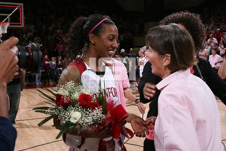 16 February 2008: Stanford Cardinal Candice Wiggins (left) and Tara VanDerveer (right) during Stanford's 79-57 win against the Arizona State Sun Devils at Maples Pavilion in Stanford, CA.