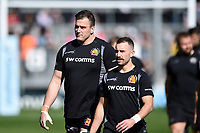 Mitch Lees and Nic White of Exeter Chiefs look on prior to the match. Gallagher Premiership match, between Exeter Chiefs and Bath Rugby on March 24, 2019 at Sandy Park in Exeter, England. Photo by: Patrick Khachfe / Onside Images