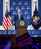 LAS VEGAS, NV - April 6, 2019: President Donald J. Trump pictured at The Republican Jewish Coalition Annual Leadership Meeting at The Venetian Resort  in Las Vegas, NV on April 6, 2019.     <br /> CAP/MPI/EKP<br /> ©EKP/MPI/Capital Pictures