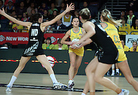 20.09.2012 Australian Natalie Medhurst in action during the second netball test match between the Silver Ferns and the Australian Diamonds played at Vector Arena in Auckland. Mandatory Photo Credit ©Michael Bradley.