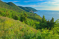 Rocky shoreline along the Cabot Strait (Atlantic Ocean). Cabot Trail. Cape Breton Island. Appalachain Mountains chain.<br />