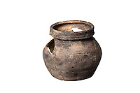 A terracotta cooking pot with no handle, 12th century, from the excavations of 2009-10 led by Sebastien Ziegler, from Fosse Depotoir F250, rue de la Madeleine, at the medieval castle of Chateau-Thierry, Picardy, France. The first fortifications on this spur over the river Marne date from the 4th century and the first castle was built in the 9th century Merovingian period by the counts of Vermandois. Thibaud II enlarged the castle in the 12th century and built the Tour Thibaud, and Thibaud IV expanded it significantly in the 13th century to include 17 defensive towers in the walls and an East and South gate. The castle was largely destroyed in the French Revolution after having been a royal palace since 1285. In 1814 it was used as a citadel for Napoleonic troops. Picture by Manuel Cohen
