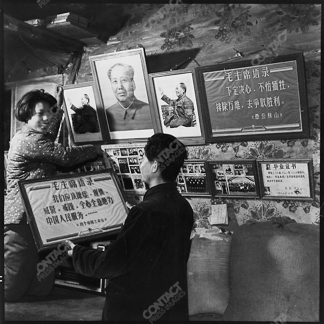 n the Binjiang district, a newlywed couple decorates their bedroom with pictures and quotations of Mao. Later criticized for making love under the eyes of their leader, they asserted that they always first turned out the lights. Harbin, Heilongjiang province, 10 December 1966