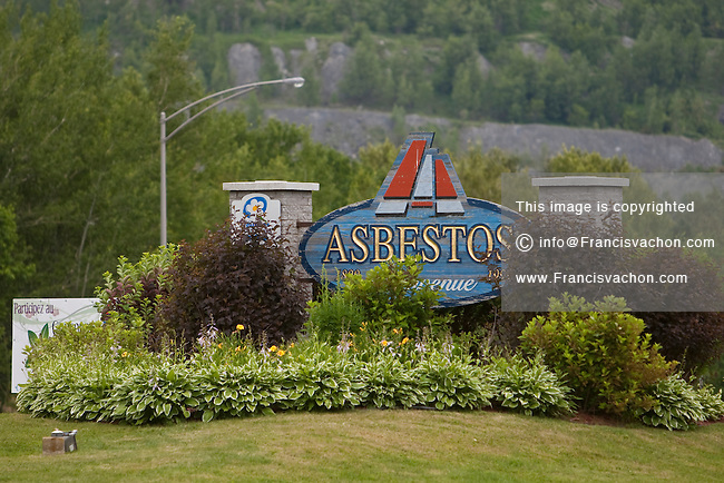 Asbestos city sign is pictured at the entrance of the town  Thursday June 30, 2011. Located near Sherbrooke, Qc, Asbestos name is synonymous with one of Canada's great international embarassments - our ongoing efforts to prevent the labelling of asbestos as a harmful substance.
