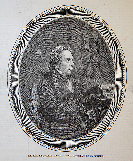 Portrait of Douglas Jerrold, 1803-57, English dramatist and writer, published accompanying his obituary in the Illustrated London News, 20th June 1857, engraving after a photograph by Dr Diamond. Copyright © Collection Particuliere Tropmi / Manuel Cohen