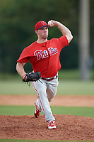 Philadelphia Phillies pitcher Aaron Brown (27) delivers a pitch during an Instructional League game against the Toronto Blue Jays on September 30, 2017 at the Carpenter Complex in Clearwater, Florida.  (Mike Janes/Four Seam Images)
