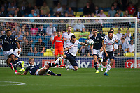 Bolton Wanderers' Adam Le Fondre is fouled by Millwall's George Saville<br /> <br /> Photographer Ashley Western/CameraSport<br /> <br /> The EFL Sky Bet Championship - Millwall v Bolton Wanderers - Saturday August 12th 2017 - The Den - London<br /> <br /> World Copyright &not;&copy; 2017 CameraSport. All rights reserved. 43 Linden Ave. Countesthorpe. Leicester. England. LE8 5PG - Tel: +44 (0) 116 277 4147 - admin@camerasport.com - www.camerasport.com