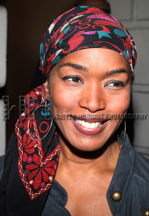 Angela Bassett.greeting fans after the first preview performance of 'The Mountaintop' at the Jacobs Theatre in New York City.