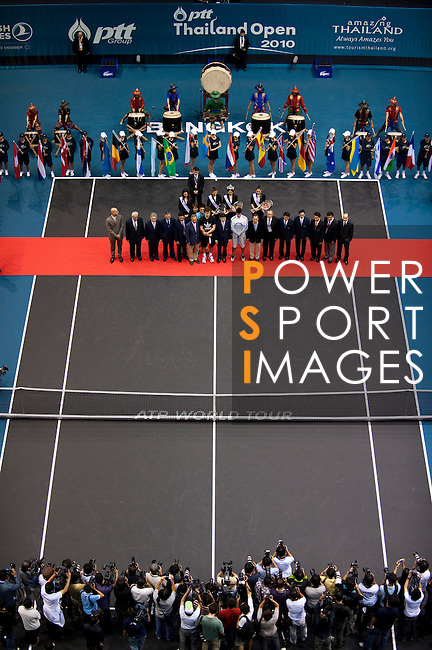 BANGKOK, THAILAND - SEPTEMBER 30:  Thailand's Prime Minister Abhisit Vejjajiva (front row C) attends the opening ceremony of the PTT Thailand Open at Impact Arena on September 30, 2010 in Bangkok, Thailand. Photo by Victor Fraile / The Power of Sport Images