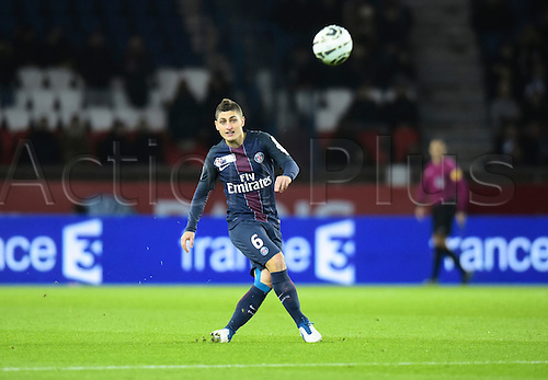 11.01.2017. Paris, France. French league cup football, Paris Saint Germain versus FC Metz.  Marco Verrati ( PSG ) crosses into the box