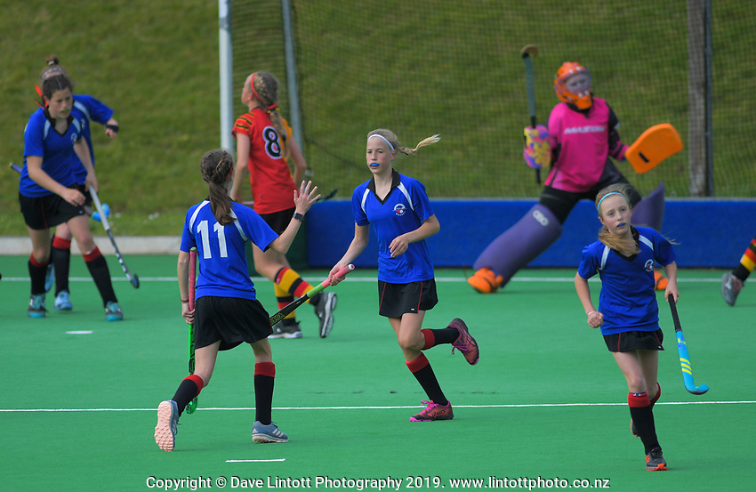 Action from the 2019 Collier Trophy Under-13 Girls' Hockey Tournament match between North Harbour and Wellington at National Hockey Stadium in Wellington, New Zealand on Friday, 9 October 2019. Photo: Dave Lintott / lintottphoto.co.nz
