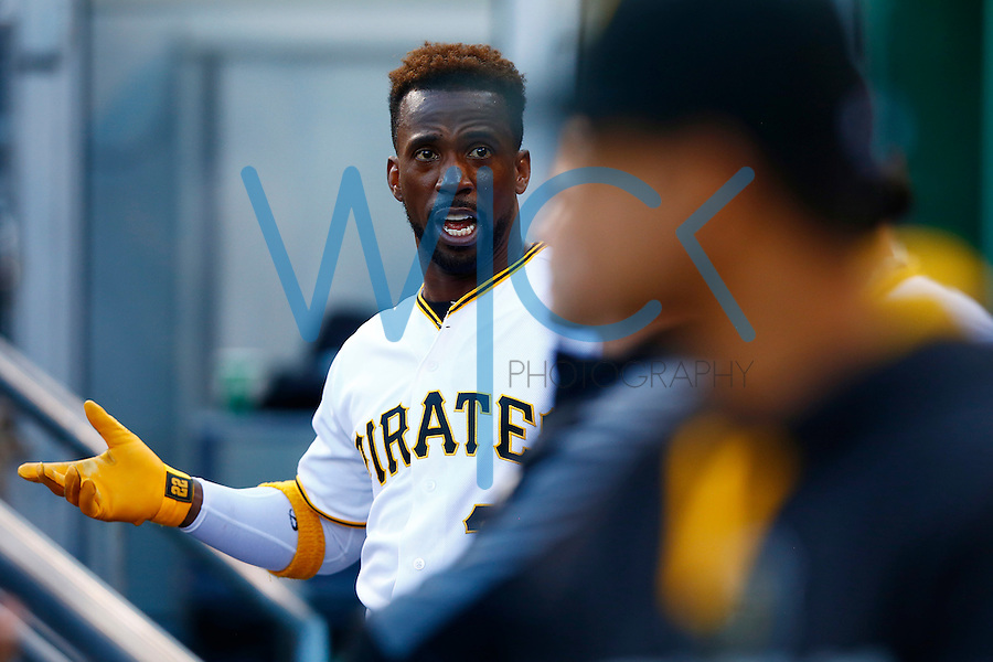 Andrew McCutchen #22 of the Pittsburgh Pirates reacts in the dugout against the New York Mets during the game at PNC Park in Pittsburgh, Pennsylvania on June 8, 2016. (Photo by Jared Wickerham / DKPS)