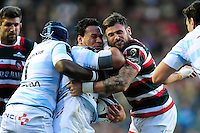 Chris Masoe of Racing 92 is tackled by Adam Thompstone of Leicester Tigers. European Rugby Champions Cup match, between Leicester Tigers and Racing 92 on October 23, 2016 at Welford Road in Leicester, England. Photo by: Patrick Khachfe / JMP