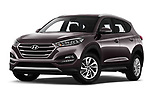 Stock pictures of low aggressive front three quarter view of a 2018 Hyundai Tucson Premium 5 Door SUV