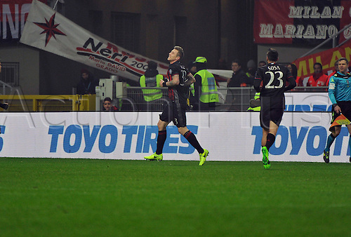 February 19th 2017, San Siro, Milan, Italy; Kucka of Milan celebrates the goal in the 16th minute during Serie A football, AC Milan versus Fiorentina;