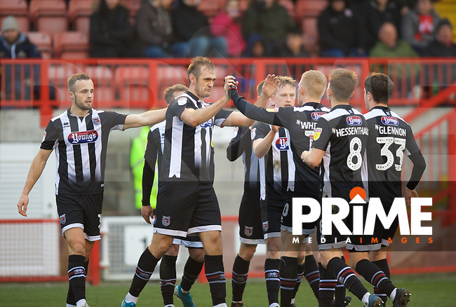 James Hanson of Grimsby Town celebrates with Elliott Whitehouse of Grimsby Town after scoring to make it 1-2 during the Sky Bet League 2 match between Crawley Town and Grimsby Town at The People's Pension Stadium, Crawley, England on 25 January 2020. Photo by Alan  Stanford / PRiME Media Images.