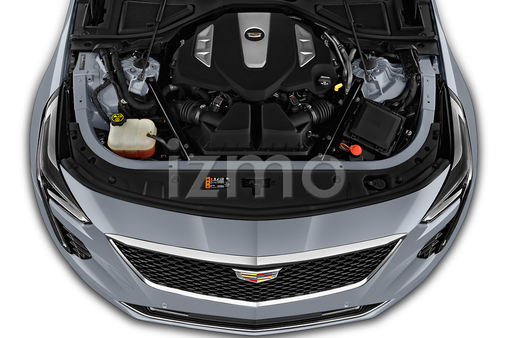 Car Stock 2019 Cadillac CT6 Platinum 4 Door Sedan Engine  high angle detail view