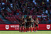 9th February 2019, Spotless Stadium, Sydney, Australia; A League football, Western Sydney Wanderers versus Central Coast Mariners; Wanderers celebrate taking a 1-0 lead and congratulate scorer Tarek Elrich of the Western Sydney Wanderers