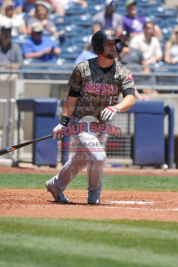 Arkansas Travelers catcher Tyler Marlette (30) swings during a game against the Tulsa Drillers at Oneok Field on May 21, 2017 in Tulsa, Oklahoma.  The Drillers won 13-6. (Dennis Hubbard/Four Seam Images)