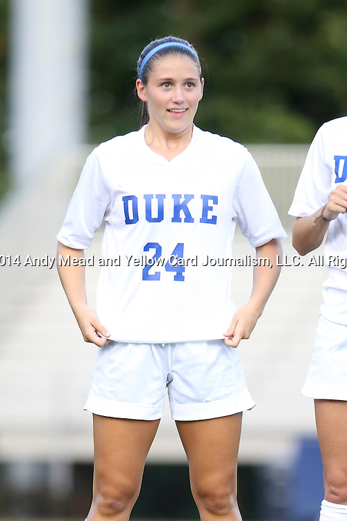 14 August 2014: Duke's Morgan Reis. The Duke University Blue Devils hosted the University of South Carolina Gamecocks at Koskinen Stadium in Durham, NC in a 2014 NCAA Division I Women's Soccer preseason match. Duke won the exhibition 2-0.