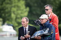 Henley Royal Regatta, Henley on Thames, Oxfordshire, 29 June-3 July 2015.  Thursday  10:19:49   30/06/2016  [Mandatory Credit/Intersport Images]<br /> <br /> Rowing, Henley Reach, Henley Royal Regatta.<br /> <br /> Official Timekeepers and the Race Reporter on the Stern of the Umpire's Launch