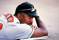 Joe Carter of the Baltimore Orioles plays in a baseball game at Edison International Field during the 1998 season in Anaheim, California. (Larry Goren/Four Seam Images)