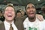 3 APRIL 2000: Michigan St. head coach Tom Izzo (left) and tournament MVP Mateen Cleaves are overcome with emotions after cliniching the title during the Division I Men's Basketball Tournament held in the RCA Dome in Indianapolis, IN. The Michigan St. Spartans went on to defeat the University of Florida Gators 89-76 for the championship title. Ryan McKee/NCAA Photos