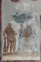 Fresco panel of Hercules in the Garden of the Hesperides, in the triclinium of the Casa del Sacerdos Amandus, or House of the Priest Amandus, Pompeii, Italy. The fresco is in the Third Style of Roman wall painting, 20–10 BC, characterised by an ornamental elegance in figurative and colourful decoration. Pompeii is a Roman town which was destroyed and buried under 4-6 m of volcanic ash in the eruption of Mount Vesuvius in 79 AD. Buildings and artefacts were preserved in the ash and have been excavated and restored. Pompeii is listed as a UNESCO World Heritage Site. Picture by Manuel Cohen