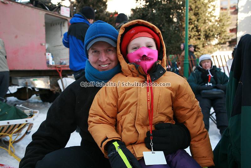 Musher Jeff Holt, Bib 65 with Iditarider Melissa Johnston, Anchorage 2007 Start Iditarod Alaska