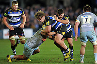 Nick Auterac of Bath Rugby takes on the Northampton Saints defence. Aviva Premiership match, between Bath Rugby and Northampton Saints on December 5, 2015 at the Recreation Ground in Bath, England. Photo by: Patrick Khachfe / Onside Images