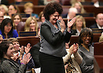 First lady Kathleen Sandoval reacts to a point made by her husband Gov. Brian Sandoval during his State of the State address at the Legislative Building in Carson City, Nev., on Thursday night, Jan. 15, 2015. Sandoval's proposed budget includes $2 million to expand breakfast in the classroom, a program cherished by the first lady. (Las Vegas Review-Journal/Cathleen Allison)