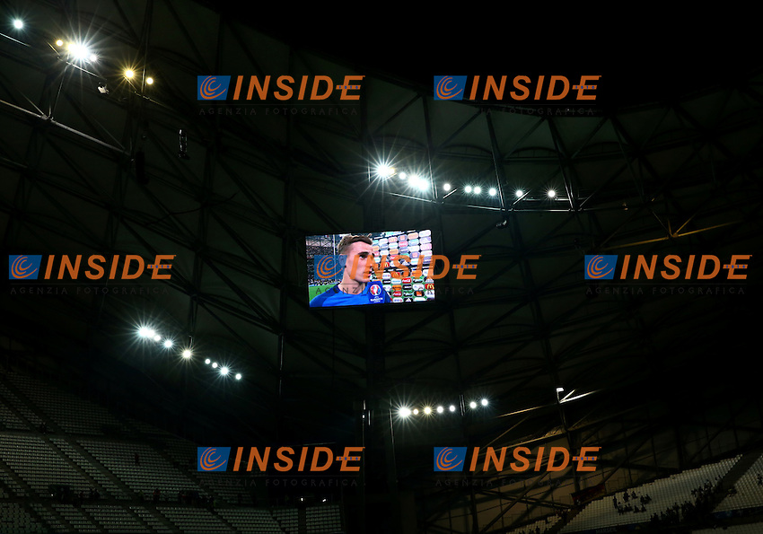 Antoine Griezmann (France) interviewed after the match appearing on the stadium screen. allenatore scheme gigante stadio<br /> Marseille 07-07-2016 Stade Velodrome Football Euro2016 Germany - France / Germania - Francia Semi-finals / Semifinali <br /> Foto Matteo Ciambelli / Insidefoto