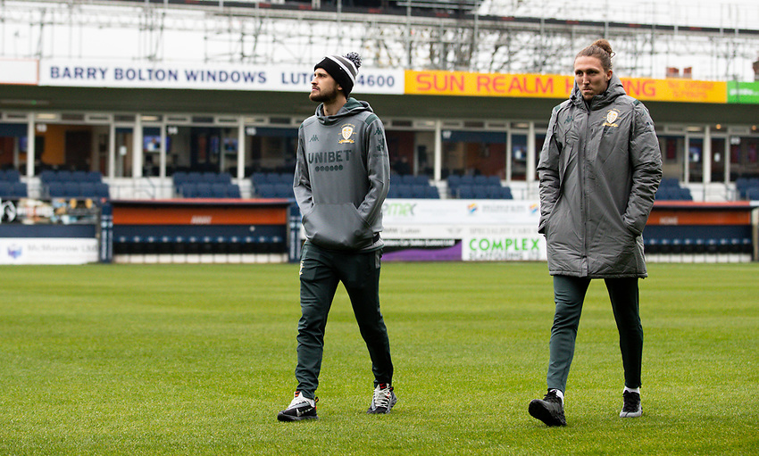 Leeds United's Luke Ayling and Mateusz Klich walk out onto the pitch at Kenilworth Road<br /> <br /> Photographer Alex Dodd/CameraSport<br /> <br /> The EFL Sky Bet Championship - 191123 Luton Town v Leeds United - Saturday 23rd November 2019 - Kenilworth Road - Luton<br /> <br /> World Copyright © 2019 CameraSport. All rights reserved. 43 Linden Ave. Countesthorpe. Leicester. England. LE8 5PG - Tel: +44 (0) 116 277 4147 - admin@camerasport.com - www.camerasport.com
