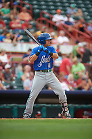 Hartford Yard Goats shortstop Anthony Phillips (14) at bat during a game against the Erie SeaWolves on August 6, 2017 at UPMC Park in Erie, Pennsylvania.  Erie defeated Hartford 9-5.  (Mike Janes/Four Seam Images)