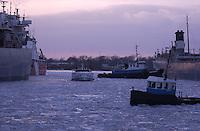 Great Lakes freighters at berth in Sarnia Harbour for winter repairs.