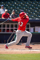 Springfield Cardinals infielder Elehuris Montero (43) connects on a pitch for a home run on May 19, 2019, at Arvest Ballpark in Springdale, Arkansas. (Jason Ivester/Four Seam Images)
