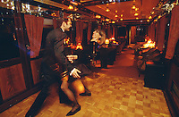 Tour guides Anna and Miguel disco dancing at Giralda bar car of Al Andalus Expreso.