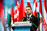 Gabor Vona, Vorsitzender der rechtsextremen Jobbik-Partei, spricht an einer   Kundgebung seiner Partei am 15. März 2014 in Budapest, am Gedenktag der Revolution von 1848 in Ungarn / Jobbik celebrates the anniversary of the Hungarian revolution on March 15. Speech of Gabor Vona.