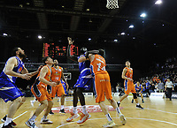Majok Majok goes up for a rebound with 0.3 seconds left to play during the national basketball league final  between Wellington Saints and Southland Sharks at TSB Bank Arena in Wellington, New Zealand on Sunday, 5 August 2018. Photo: Dave Lintott / lintottphoto.co.nz