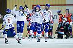Bollnäs 2013-02-17 Bandy SM-kvartsfinal , Bollnäs GIF - Edsbyns IF :  .Edsbyn 18 Jonas Edling jublar med lagkamrater efter att ha gjort 6-1.(Byline: Foto: Kenta Jönsson) Nyckelord:  jubel glädje lycka glad happy