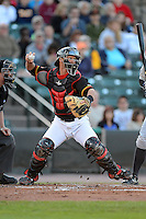 Rochester Red Wings catcher Dan Rohlfing #52 throws down to second during a game against the Scranton Wilkes-Barre RailRiders on June 19, 2013 at Frontier Field in Rochester, New York.  Scranton defeated Rochester 10-7.  (Mike Janes/Four Seam Images)