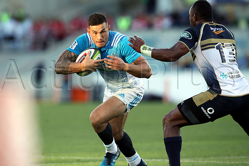 April 30th 2017,Canberra, Australia; Super Rugby Match; Brumbies versus Blues; Sonny Bill Williams takes on Tevita Kuridrani